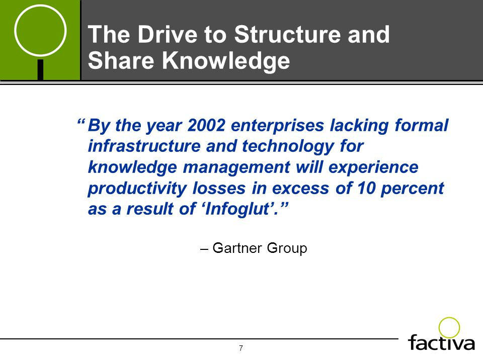 "7 The Drive to Structure and Share Knowledge – Gartner Group ""By the year 2002 enterprises lacking formal infrastructure and technology for knowledge"