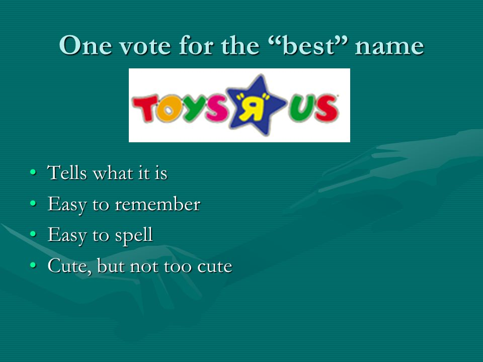 One vote for the best name Tells what it isTells what it is Easy to rememberEasy to remember Easy to spellEasy to spell Cute, but not too cuteCute, but not too cute