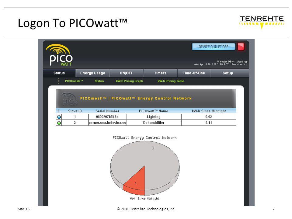 Mar-15© 2010 Tenrehte Technologies, Inc.7 Logon To PICOwatt™