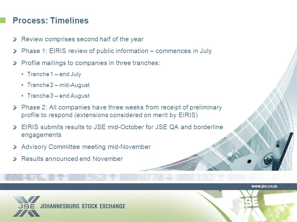 www.jse.co.za Process: Timelines Review comprises second half of the year Phase 1: EIRIS review of public information – commences in July Profile mailings to companies in three tranches: Tranche 1 – end July Tranche 2 – mid-August Tranche 3 – end August Phase 2: All companies have three weeks from receipt of preliminary profile to respond (extensions considered on merit by EIRIS) EIRIS submits results to JSE mid-October for JSE QA and borderline engagements Advisory Committee meeting mid-November Results announced end November
