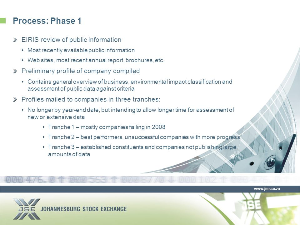 www.jse.co.za Process: Phase 1 EIRIS review of public information Most recently available public information Web sites, most recent annual report, brochures, etc.