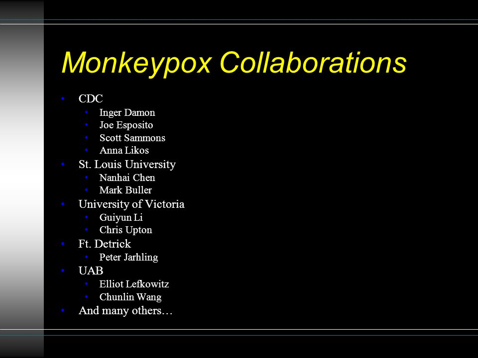 Monkeypox Collaborations CDC Inger Damon Joe Esposito Scott Sammons Anna Likos St.