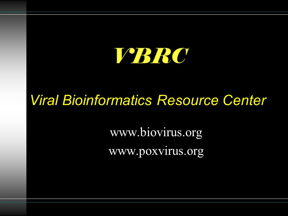 Viral Bioinformatics Resource Center www.biovirus.org www.poxvirus.org