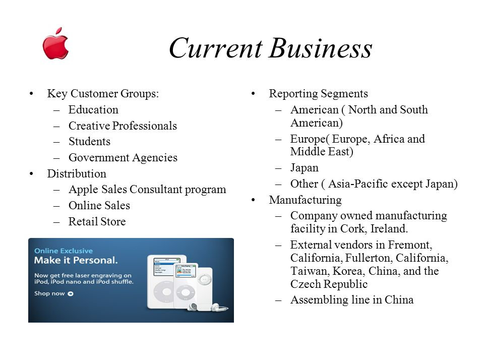 Current Business Key Customer Groups: –Education –Creative Professionals –Students –Government Agencies Distribution –Apple Sales Consultant program –