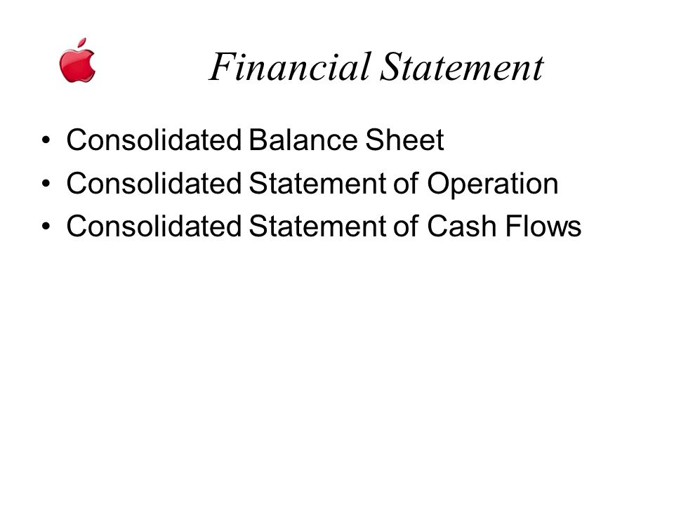 Financial Statement Consolidated Balance Sheet Consolidated Statement of Operation Consolidated Statement of Cash Flows