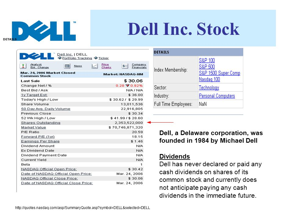 Dell Inc. Stock http://quotes.nasdaq.com/asp/SummaryQuote.asp?symbol=DELL&selected=DELL DETAILS Dell, a Delaware corporation, was founded in 1984 by M