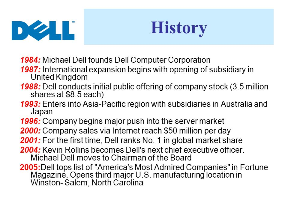 History 1984: Michael Dell founds Dell Computer Corporation 1987: International expansion begins with opening of subsidiary in United Kingdom 1988: De