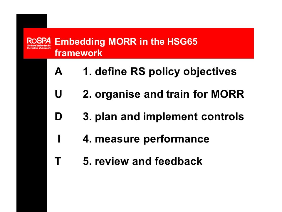 Embedding MORR in the HSG65 framework A1. define RS policy objectives U 2.