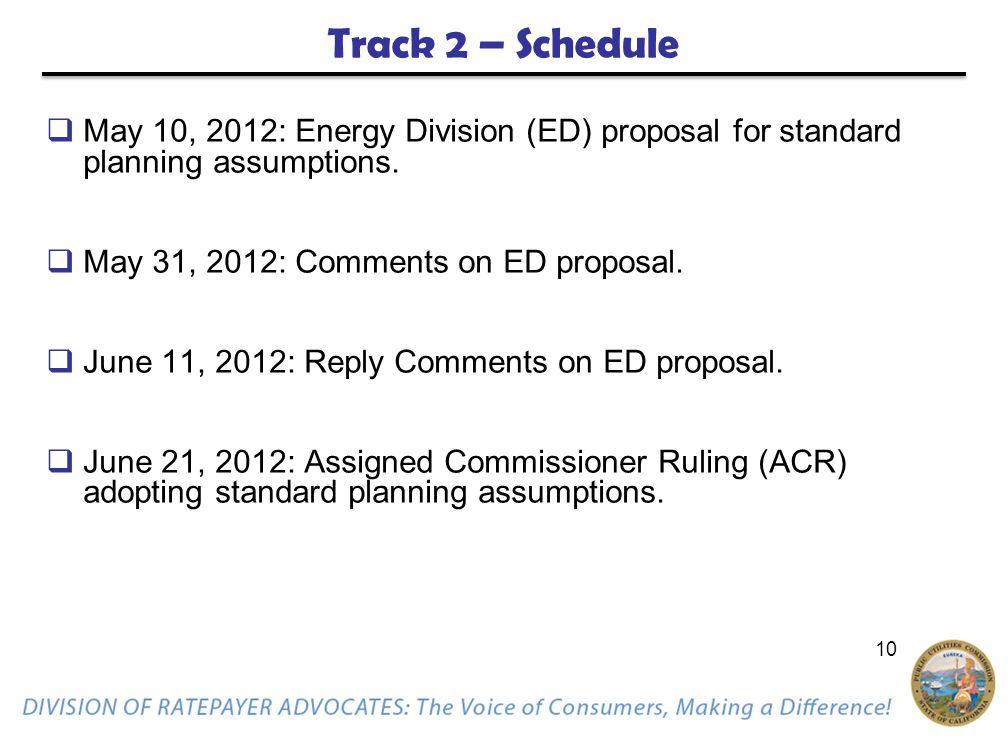 10 Track 2 – Schedule  May 10, 2012: Energy Division (ED) proposal for standard planning assumptions.