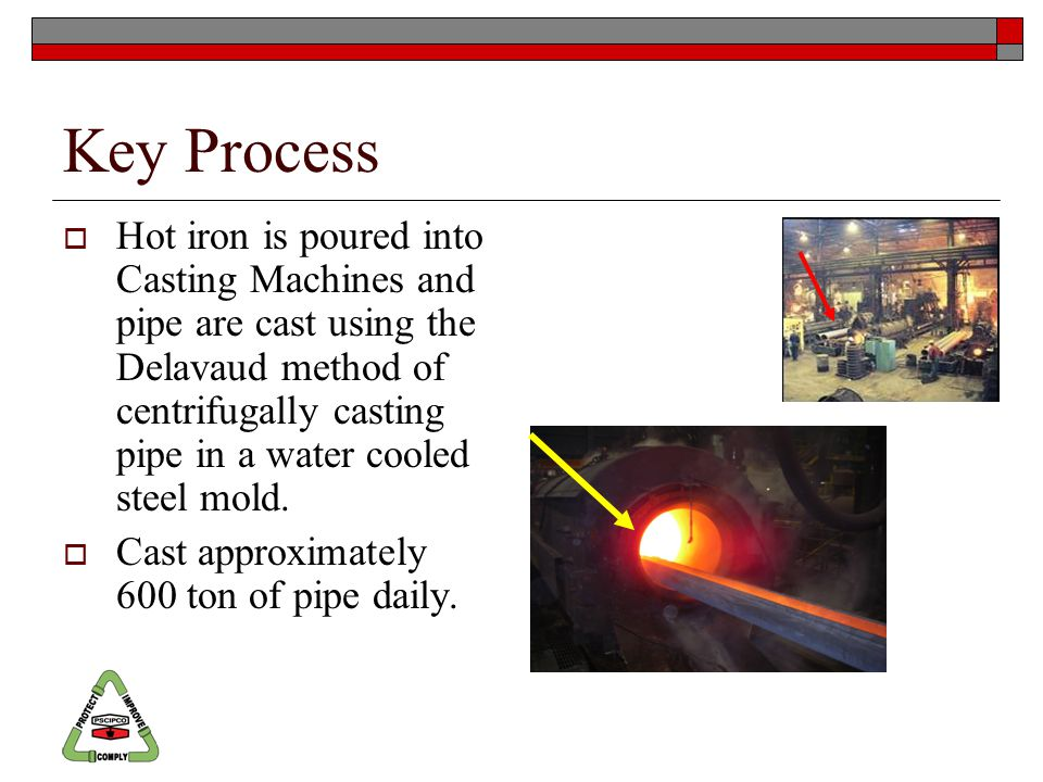 Key Process  Hot iron is poured into Casting Machines and pipe are cast using the Delavaud method of centrifugally casting pipe in a water cooled steel mold.