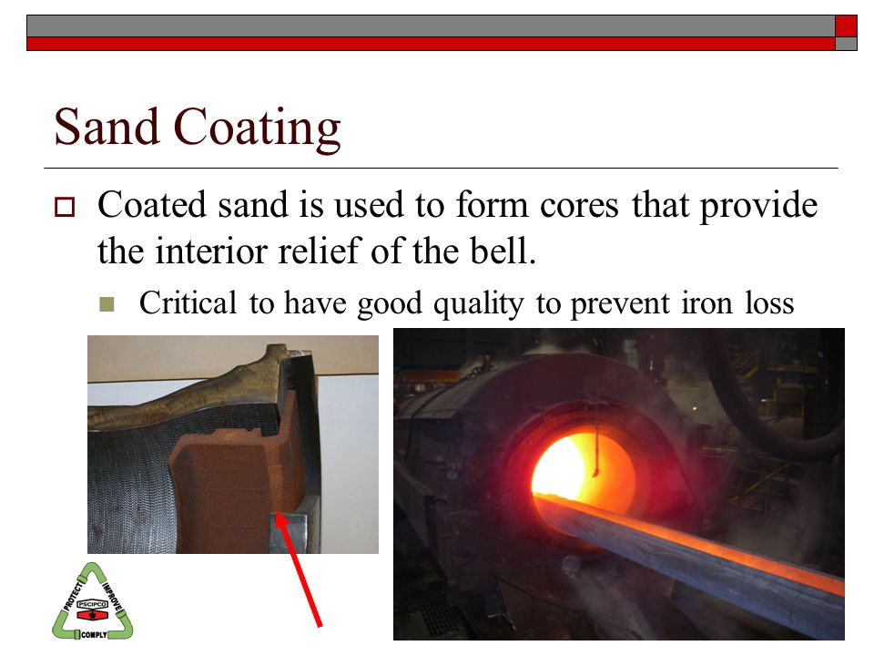 Sand Coating  Coated sand is used to form cores that provide the interior relief of the bell.