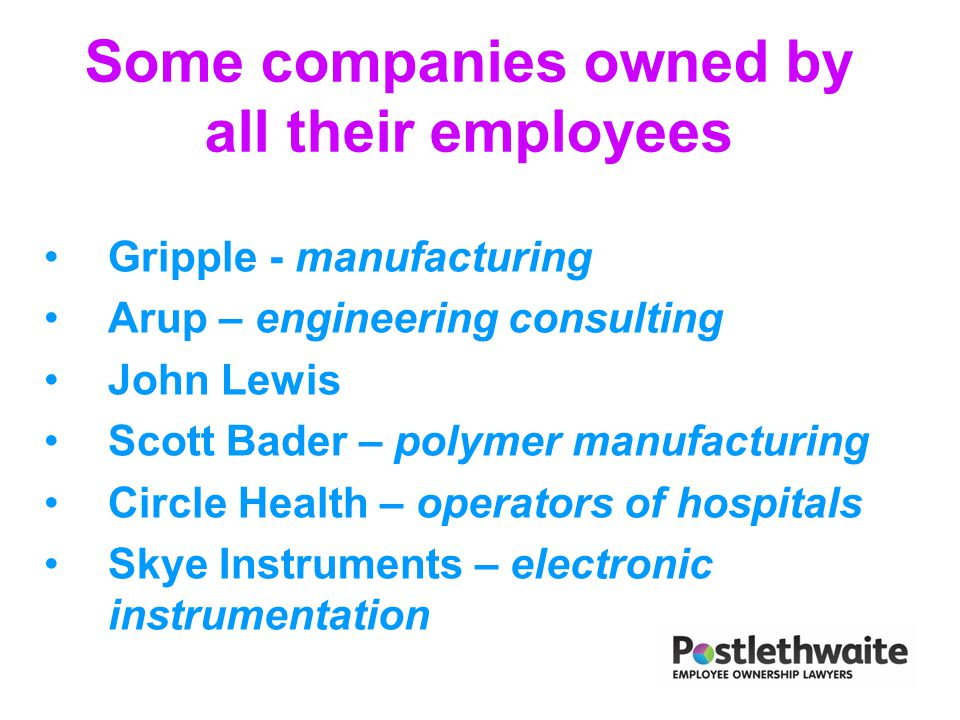 Some companies owned by all their employees Gripple - manufacturing Arup – engineering consulting John Lewis Scott Bader – polymer manufacturing Circl