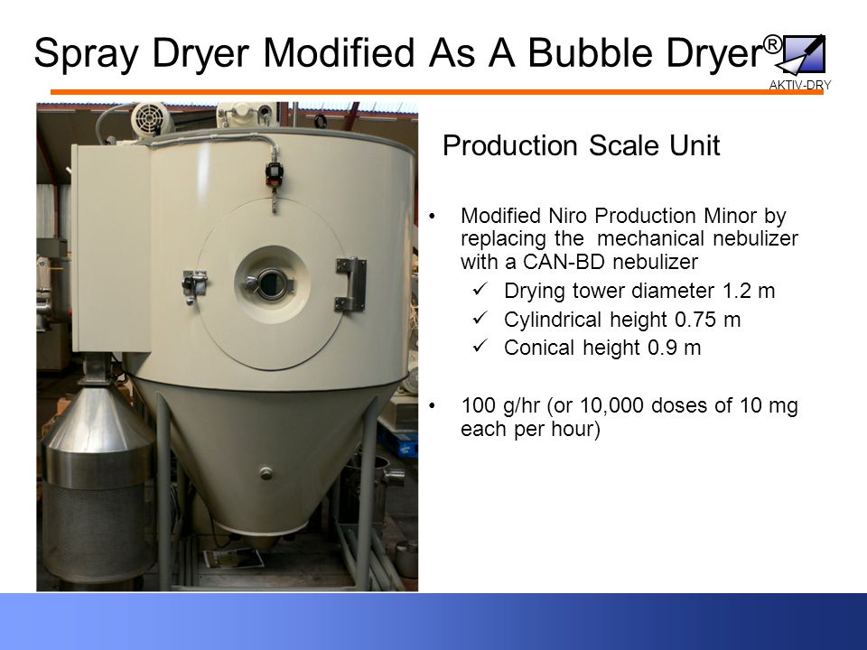 AKTIV-DRY Spray Dryer Modified As A Bubble Dryer ® Modified Niro Production Minor by replacing the mechanical nebulizer with a CAN-BD nebulizer Drying tower diameter 1.2 m Cylindrical height 0.75 m Conical height 0.9 m 100 g/hr (or 10,000 doses of 10 mg each per hour) Production Scale Unit