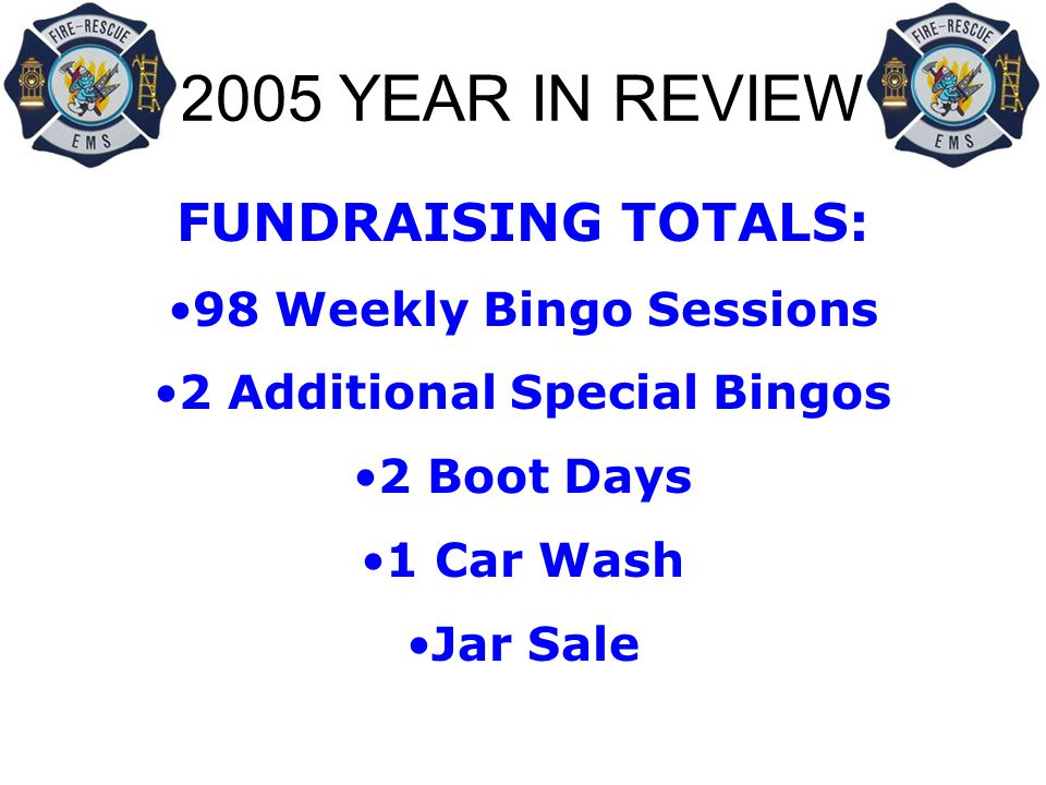2005 YEAR IN REVIEW FUNDRAISING TOTALS: 98 Weekly Bingo Sessions 2 Additional Special Bingos 2 Boot Days 1 Car Wash Jar Sale