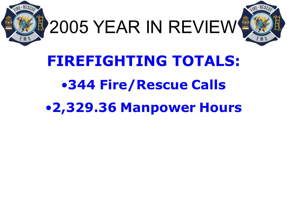 2005 YEAR IN REVIEW FIREFIGHTING TOTALS: 344 Fire/Rescue Calls 2,329.36 Manpower Hours