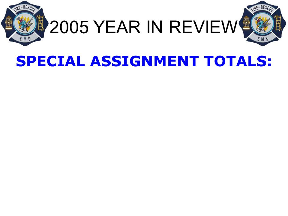 2005 YEAR IN REVIEW SPECIAL ASSIGNMENT TOTALS:
