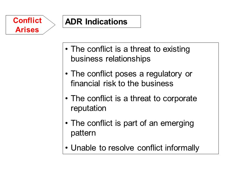 The conflict is a threat to existing business relationships The conflict poses a regulatory or financial risk to the business The conflict is a threat to corporate reputation The conflict is part of an emerging pattern Unable to resolve conflict informally ADR Indications Conflict Arises