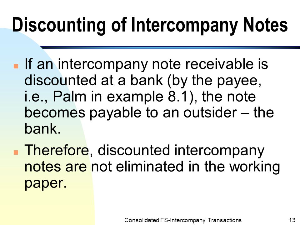 Consolidated FS-Intercompany Transactions12 Example 8.1: Intercompany Loans from Palm (the parent company) to Starr (the subsidiary) (Contd.) PALM CORPORATION AND SUBSIDIARY Partial Working Paper for Consolidated Financial Statements For Year Ended December 31, 2001 Palm Corporation Starr Company Eliminations Inc.