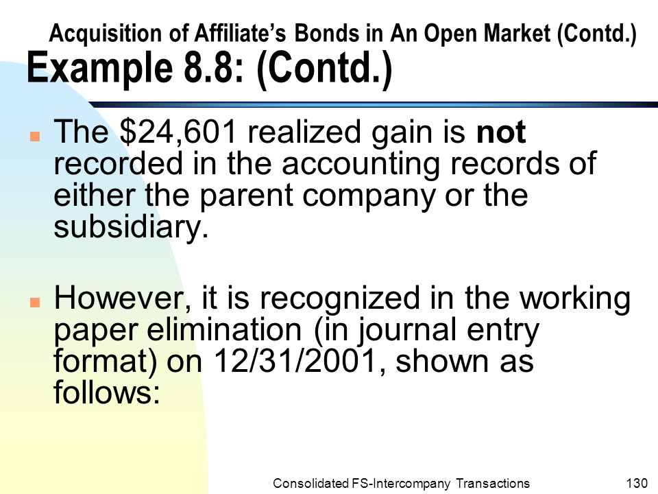 Consolidated FS-Intercompany Transactions129 Acquisition of Affiliate's Bonds in An Open Market (Contd.) Example 8.8: (Contd.) n From the viewpoint of the consolidated entity, Post's acquisition of Sage's bonds is equivalent to the extinguishment of the bonds at a realized gain of $24,601, computed as follows: Carrying amount of Sage Company's bonds acquired by Post Corporation on Dec.31,2001 ($300,000 –18,224) $ 281,776 Less: Cost of Post Corporation's investment257,175 Realized gain on extinguishment of bonds$ 24,601