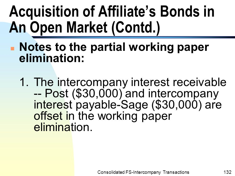 Consolidated FS-Intercompany Transactions131 Acquisition of Affiliate's Bonds in An Open Market (Contd.) Example 8.8: (Contd.) POST CORPORATION AND SUBSIDIARY Partial Working Paper Elimination December 31,2001 (e) Intercompany Bonds Payable— Sage 300,000 Discount on Intercompany Bonds Payable-Sage18,224 Investment in Sage Company Bonds-Post257,175 Gain on Extinguishment of Bonds-Sage24,601 To eliminate subsidiary's bonds acquired by parent and to recognize gain on the extinguishment of the bonds.(Income tax effects are disregarded.)