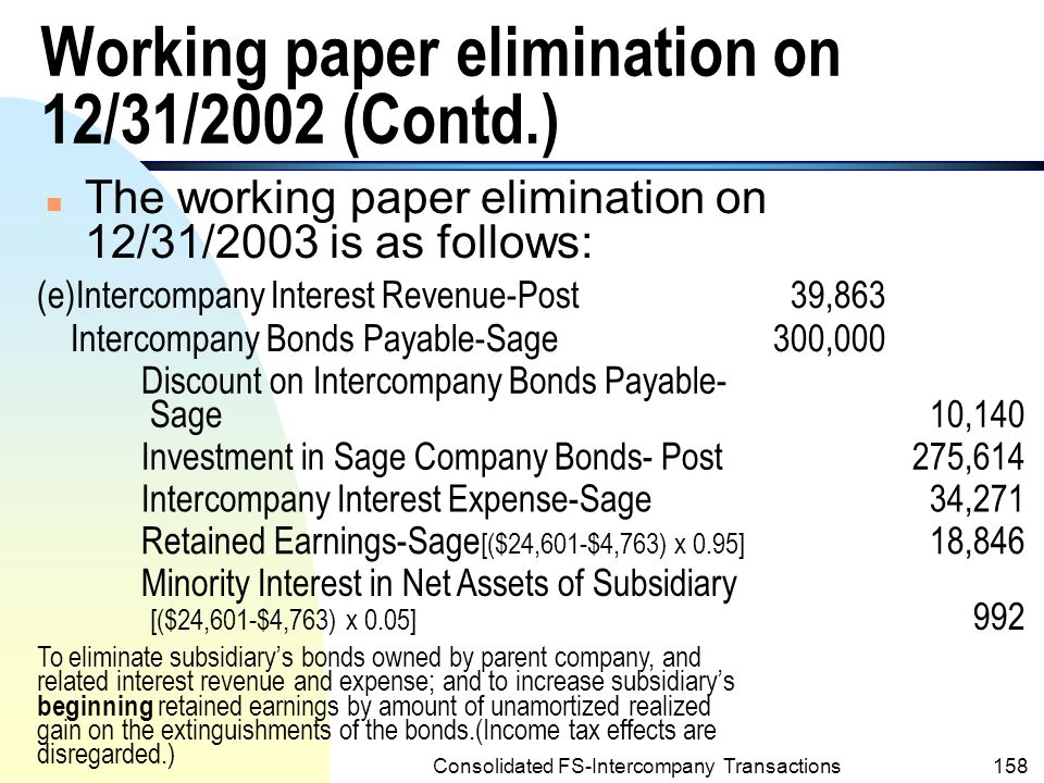 Consolidated FS-Intercompany Transactions157 Working paper elimination on 12/31/2002 n Similar working paper elimination for years 2004 and 2005 would be prepared.