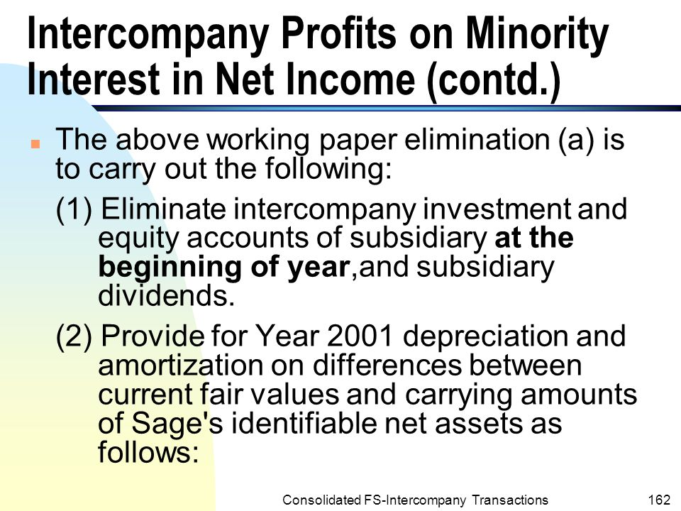 Consolidated FS-Intercompany Transactions161 Intercompany Profits on Minority Interest in Net Income (contd.) n Contd.