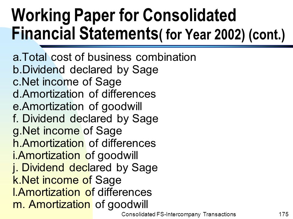 Consolidated FS-Intercompany Transactions174 Working Paper for Consolidated Financial Statements ( for Year 2002)(cont.) POST CORPORATION Investment in Sage Company Common Stock 12/31/991,192,250 a 38,000 b 11/24/00 12/31/0085,500 c 42,750 d 12/31/00 950 e 12/31/00 47,500 f 11/22/01 12/31/0199,750 g 18,050 h 12/31/01 950 i 12/31/01 57,000 j 11/25/02 12/31/02109,250 k 18.050 l 12/31/02 950 m 12/31/02 Bal on 2/31/02 1,262,550
