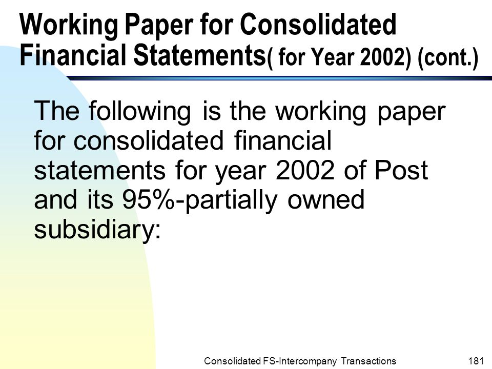 Consolidated FS-Intercompany Transactions180 a.Balance b.Close net income c.Close Dividends Declared account d.