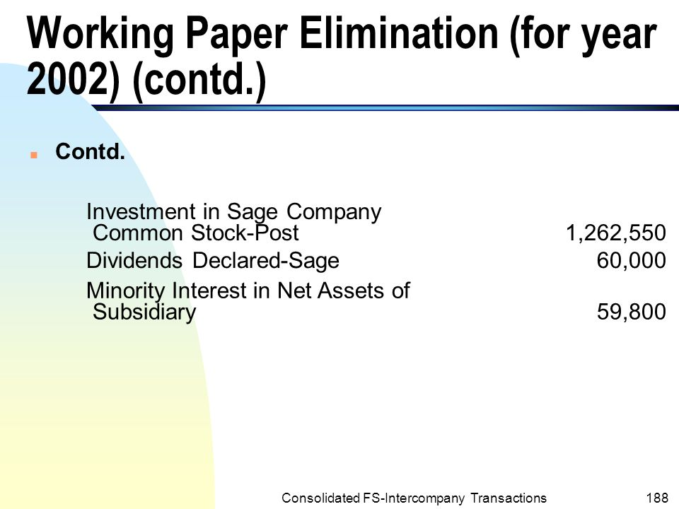 Consolidated FS-Intercompany Transactions187 Working Paper Elimination (for year 2002) POST CORPORATION AND SUBSIDIARY Working Paper Eliminations December 31, 2002 (a)Common Stock-Sage400,000 Additional Paid-in Capital-Sage235,000 Retained Earnings-Sage ($439,000-$38,950) 400,050 Retained Earnings of Subsidiary-Post38,950 Intercompany Investment Income-Post91,200 Plant Assets(net)-Sage ($162,000-$14,000) 148,000 Leasehold(net)-Sage ($20,000-$5,000) 15,000 Goodwill (net)-Post ($36,100-$950) 35,150 Cost of Goods Sold-Sage17,000 Operating Expenses-Sage2,000