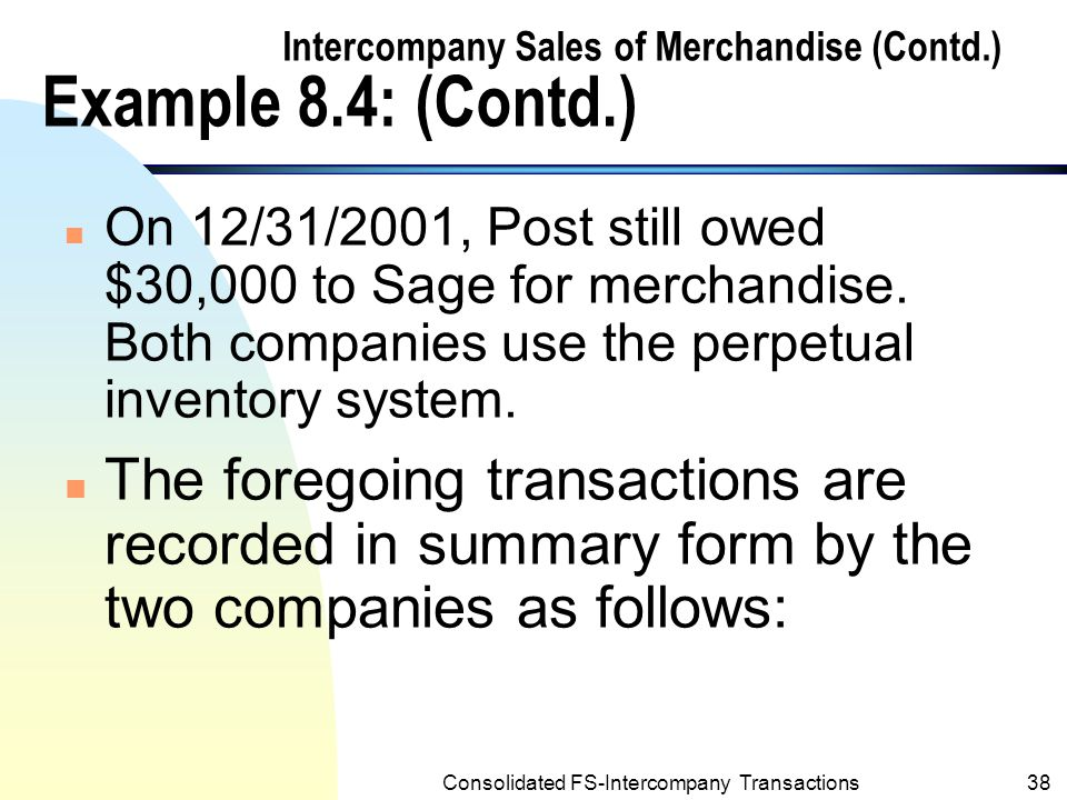 Consolidated FS-Intercompany Transactions37 Intercompany Sales of Merchandise (Contd.) Example 8.4:Intercompany sales at a mark up n During 2001, Sage company (the 95%- owned subsidiary) sold merchandize to Post at a gross profit margin of 20% on sales price.