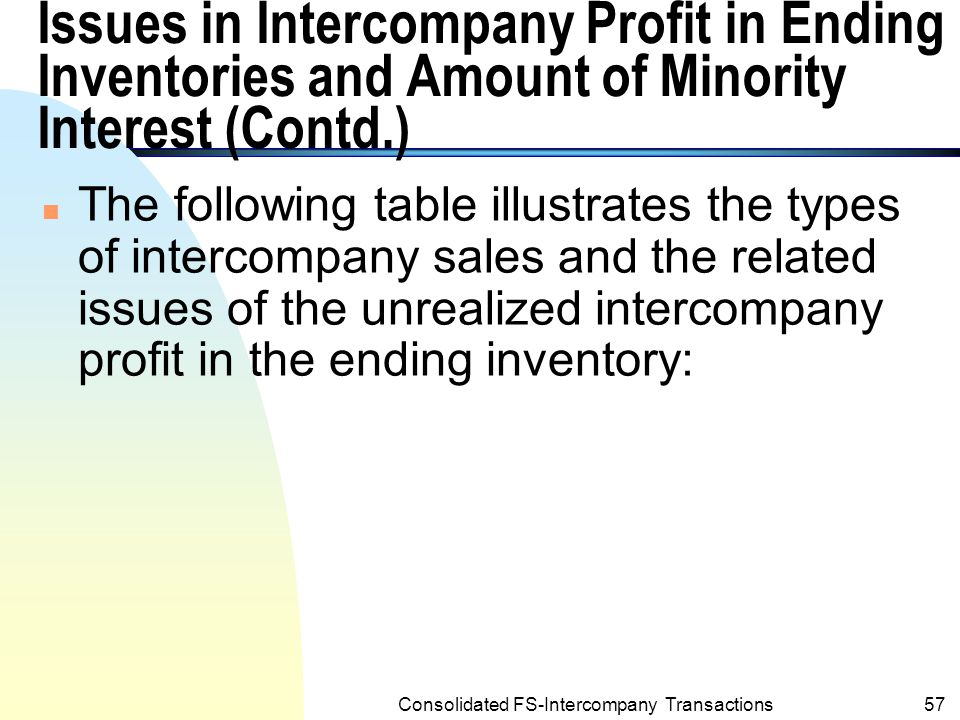Consolidated FS-Intercompany Transactions56 Issues in Intercompany Profit in Ending Inventories and Amount of Minority Interest (Contd.) n The argument is : The intercompany sale to the minority stockholder is considered as a sale to outsiders.
