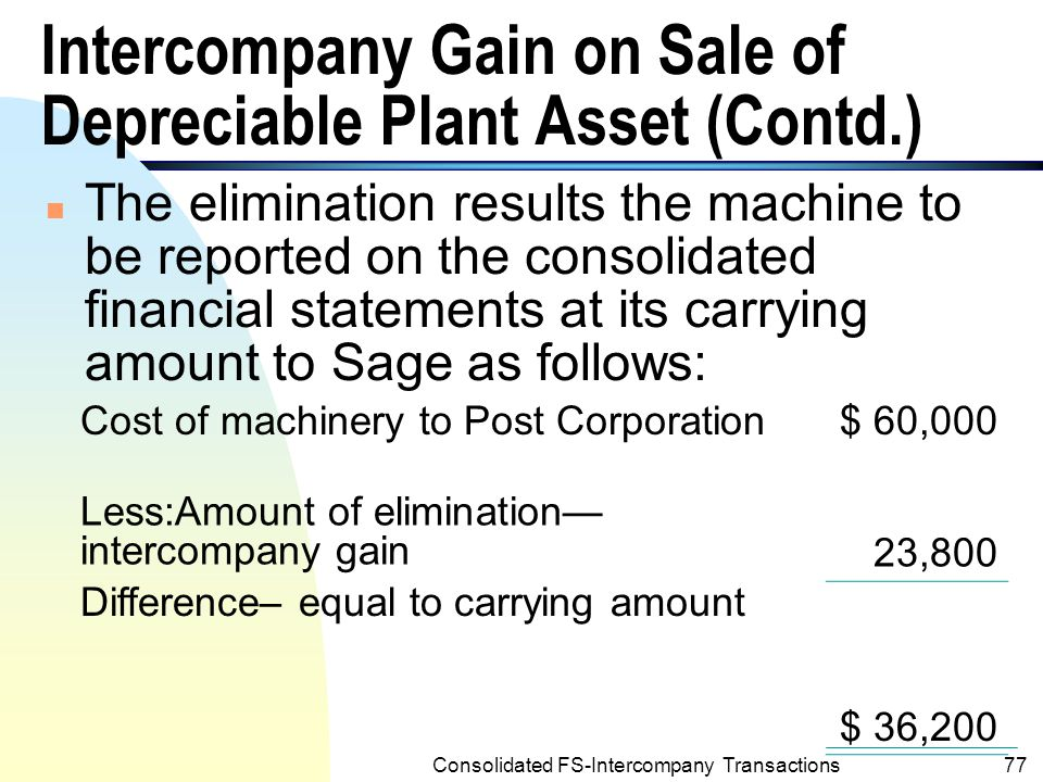 Consolidated FS-Intercompany Transactions76 Intercompany Gain on Sale of Depreciable Plant Asset (Contd.) n The following working paper elimination is required for the consolidated financial statements on 12/31/2001: (d) Intercompany Gain on Sale of Machinery—Sage 23,800 Machinery-Post23,800 To eliminate unrealized intercompany gain on sale of machinery.(Income tax effects are disregarded.)