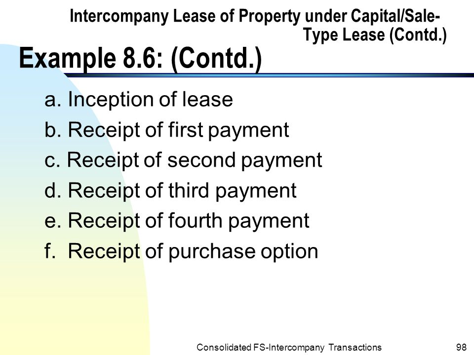 Consolidated FS-Intercompany Transactions97 Intercompany Lease of Property under Capital/Sale- Type Lease (Contd.) Example 8.6: (Contd.) n The selected ledger accounts for both companies relative to the lease are as follows: PALM CORPORATION Intercompany Lease Receivable 01/02/0141,000 a 10,000 b 01/02/01 10,000 c 01/02/02 10,000 d 01/02/03 10,000 e 01/02/04 1,000 f 01/02/05 0 Bal on 01/02/05