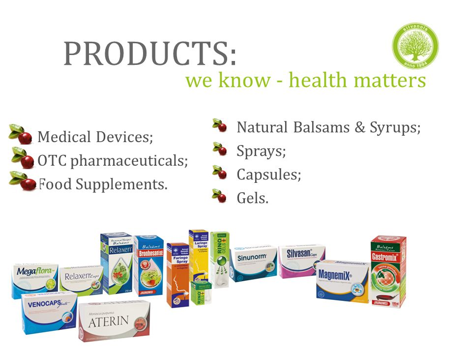 PRODUCTS: we know - health matters Medical Devices; OTC pharmaceuticals; Food Supplements.