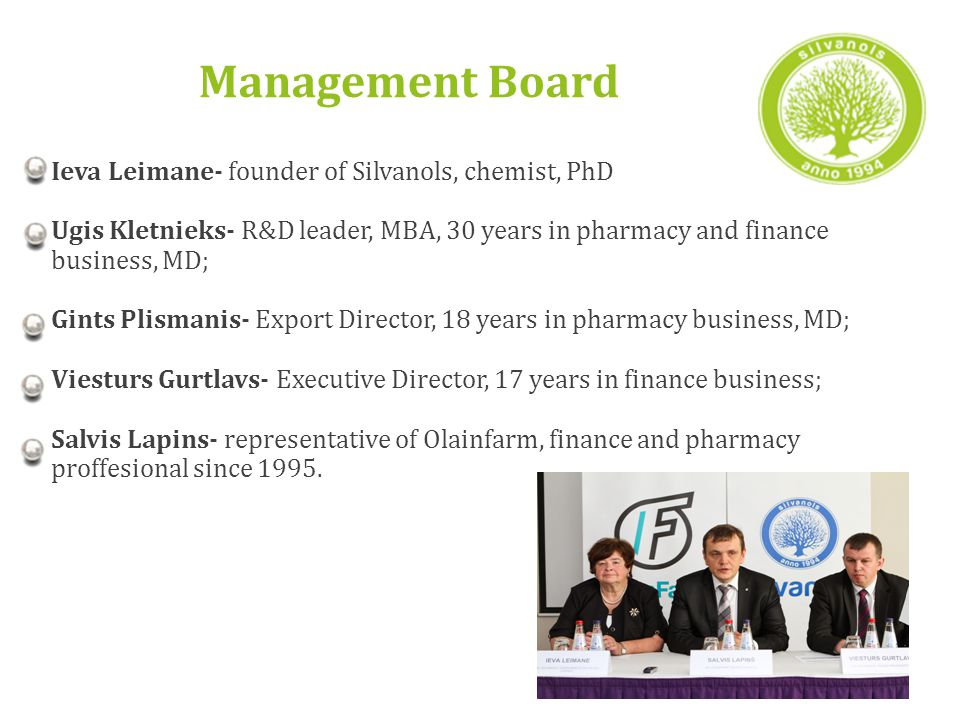 Management Board Ieva Leimane- founder of Silvanols, chemist, PhD Ugis Kletnieks- R&D leader, MBA, 30 years in pharmacy and finance business, MD; Gints Plismanis- Export Director, 18 years in pharmacy business, MD; Viesturs Gurtlavs- Executive Director, 17 years in finance business; Salvis Lapins- representative of Olainfarm, finance and pharmacy proffesional since 1995.