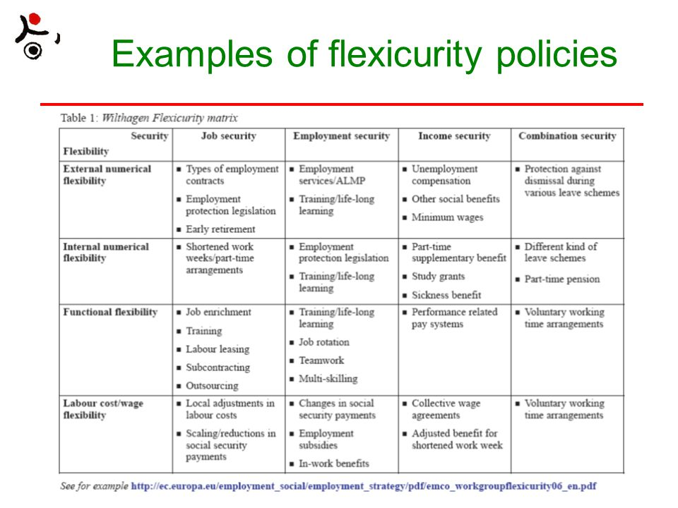Examples of flexicurity policies