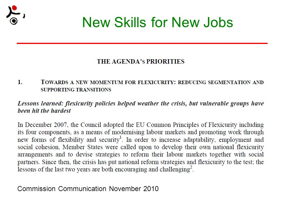 New Skills for New Jobs Commission Communication November 2010