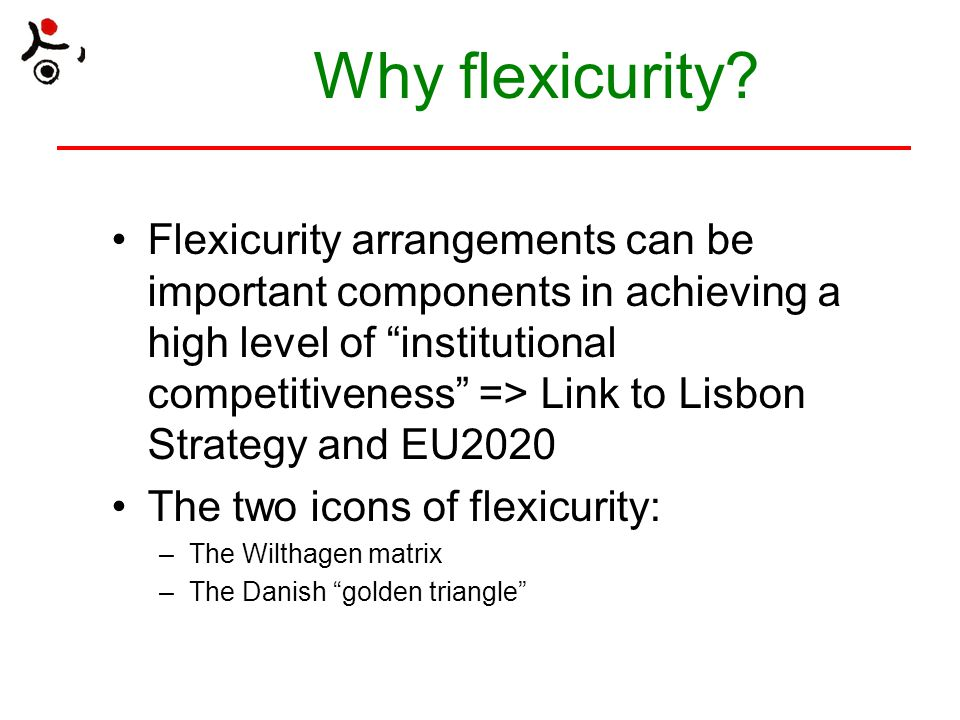 The Wilthagen Matrix Jobsecurity (keeping your job) Income security (unemployment benefits) Employment security (getting a new job) Combination security (work-life balance) Numerical flexibility (hire and fire) Functional flexibility (between tasks) Working time flexibility Wage flexibility Source: T.