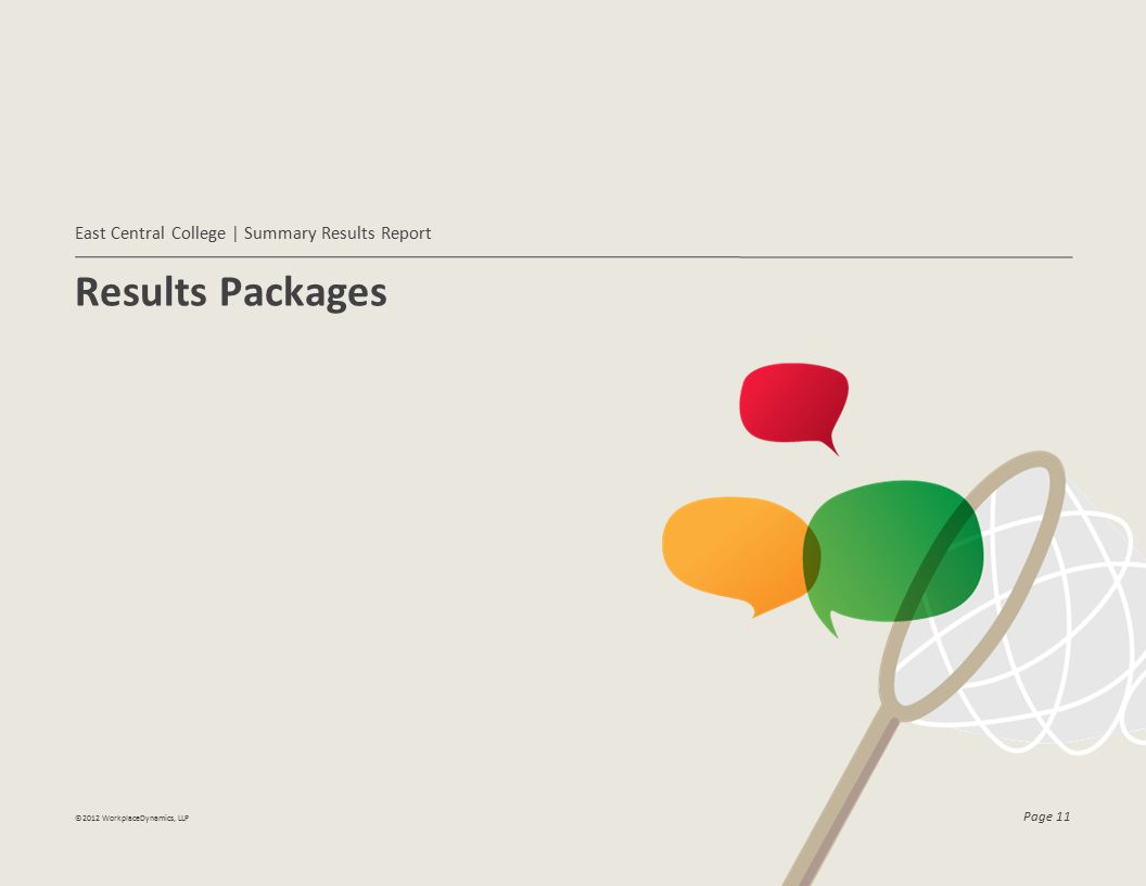 Results Packages East Central College | Summary Results Report ©2012 WorkplaceDynamics, LLP Page 11