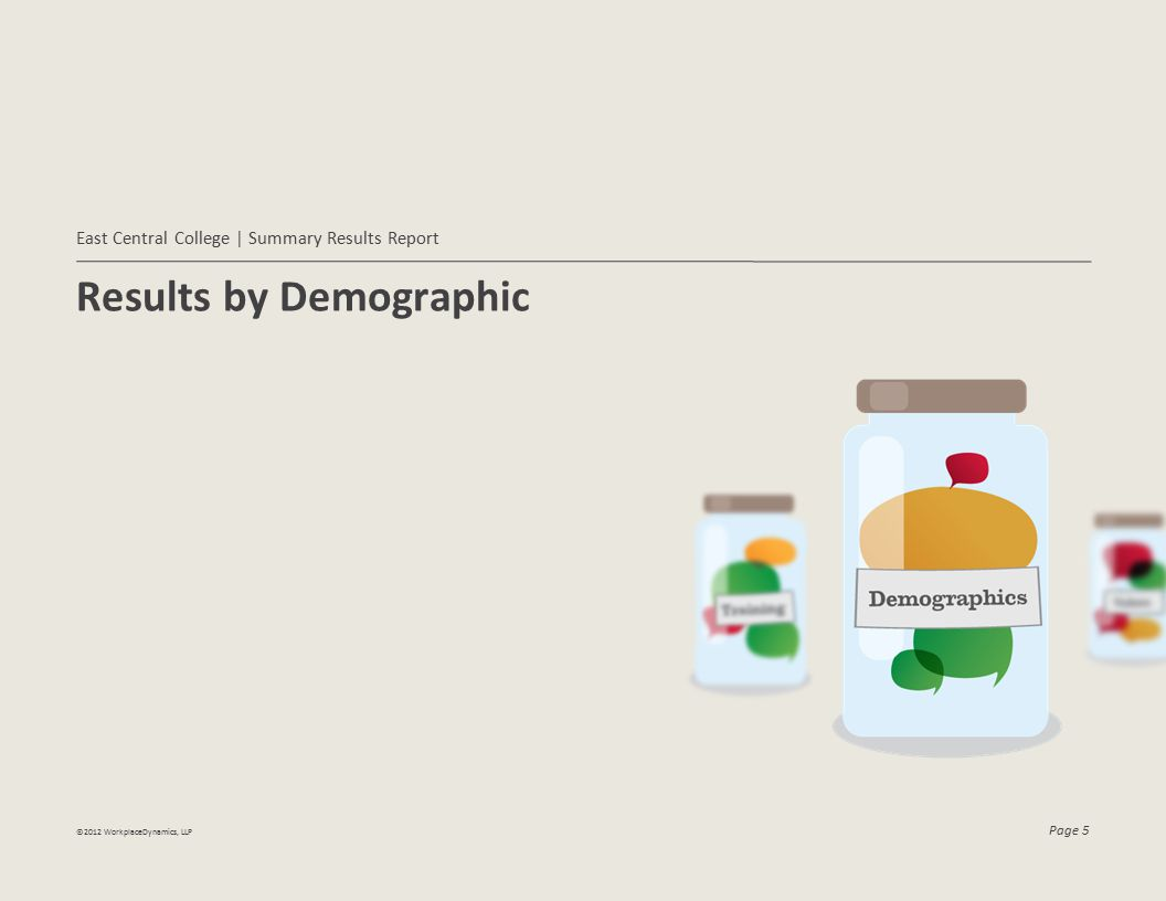 ©2012 WorkplaceDynamics, LLP Page 6 Top and Bottom Demographics Listed below are the demographic groups captured in the survey.