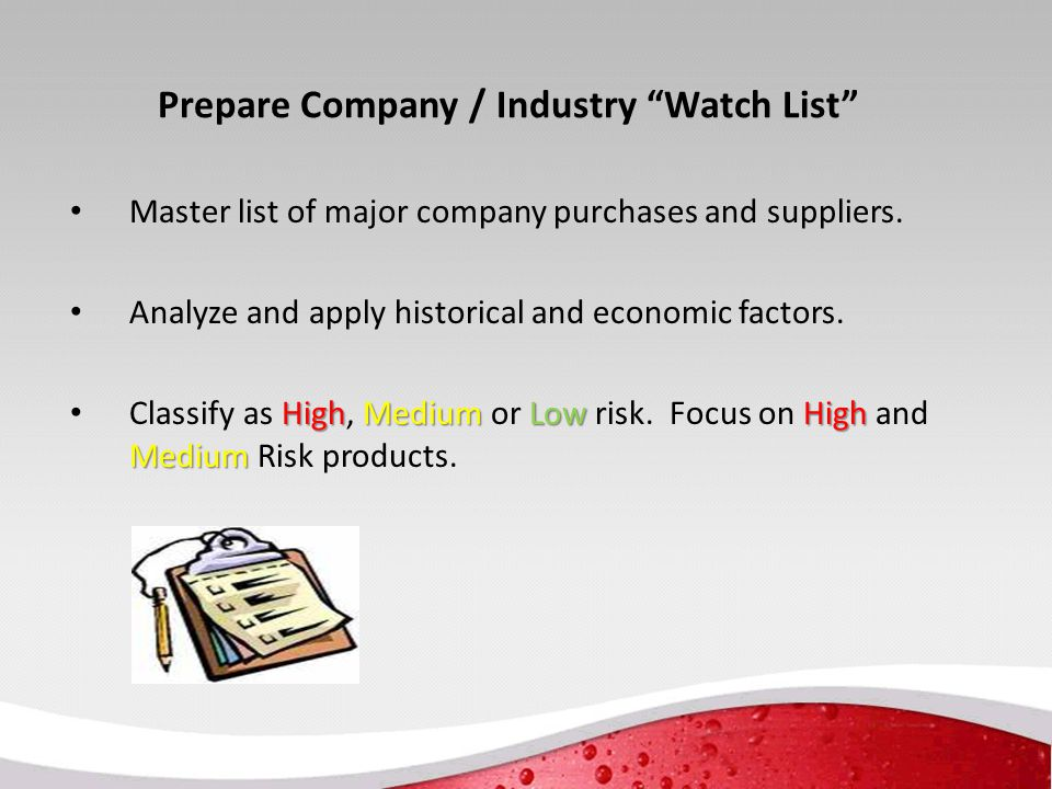 Prepare Company / Industry Watch List Master list of major company purchases and suppliers.