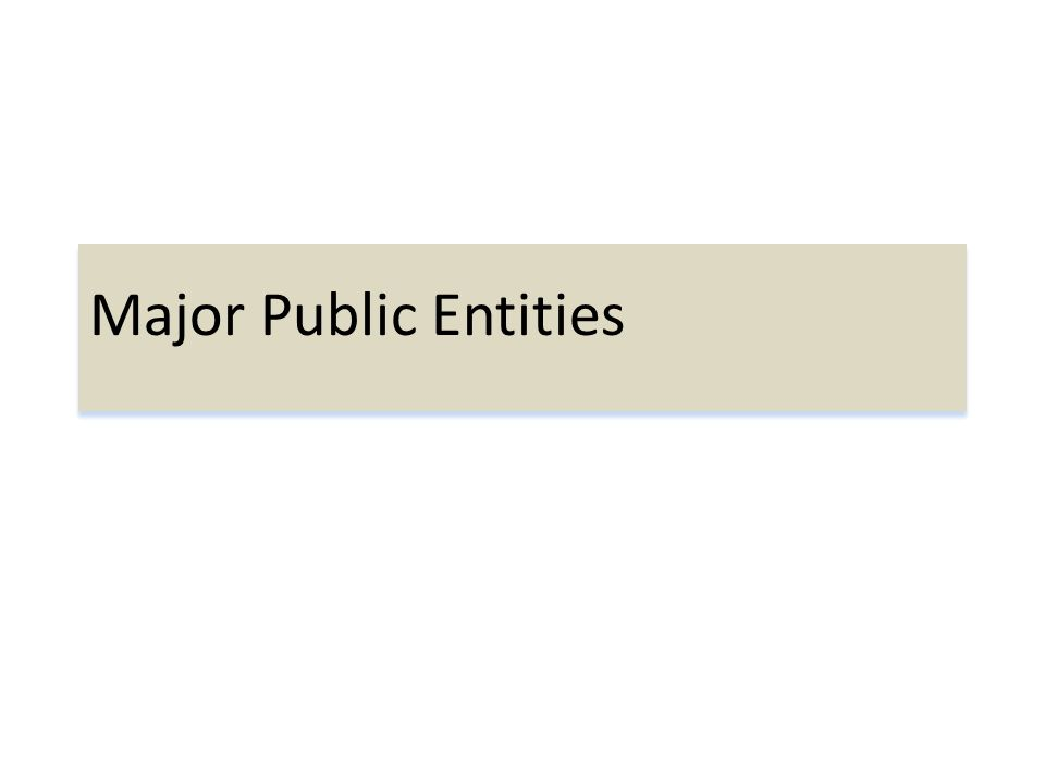 Major Public Entities