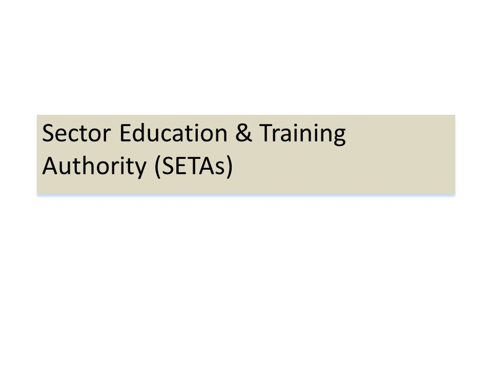 Sector Education & Training Authority (SETAs)