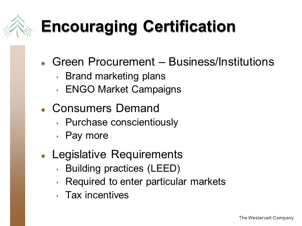 The Westervelt Company Encouraging Certification l Green Procurement – Business/Institutions s Brand marketing plans s ENGO Market Campaigns l Consumers Demand s Purchase conscientiously s Pay more l Legislative Requirements s Building practices (LEED) s Required to enter particular markets s Tax incentives