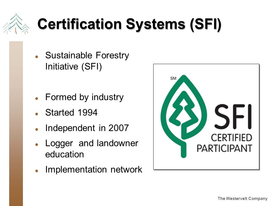 The Westervelt Company Certification Systems (SFI) l Sustainable Forestry Initiative (SFI) l Formed by industry l Started 1994 l Independent in 2007 l Logger and landowner education l Implementation network
