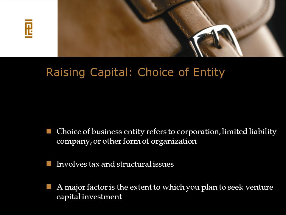 Raising Capital: Choice of Entity Choice of business entity refers to corporation, limited liability company, or other form of organization Involves tax and structural issues A major factor is the extent to which you plan to seek venture capital investment