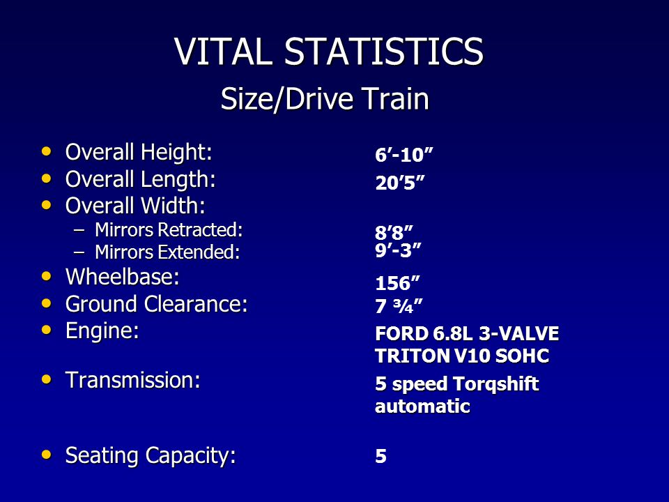 VITAL STATISTICS Size/Drive Train Overall Height: Overall Height: Overall Length: Overall Length: Overall Width: Overall Width: –Mirrors Retracted: –Mirrors Extended: Wheelbase: Wheelbase: Ground Clearance: Ground Clearance: Engine: Engine: Transmission: Transmission: Seating Capacity: Seating Capacity: 6'-10 20'5 8'8 9'-3 156 7 ¾ FORD 6.8L 3-VALVE TRITON V10 SOHC 5 speed Torqshift automatic 5