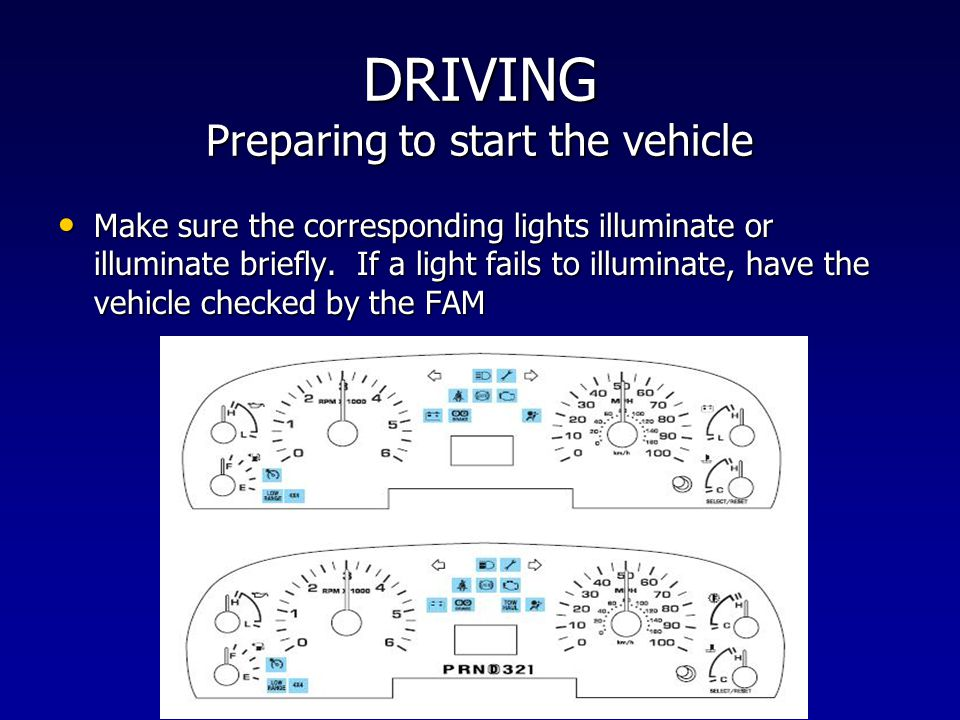 DRIVING Preparing to start the vehicle Make sure the corresponding lights illuminate or illuminate briefly. If a light fails to illuminate, have the v
