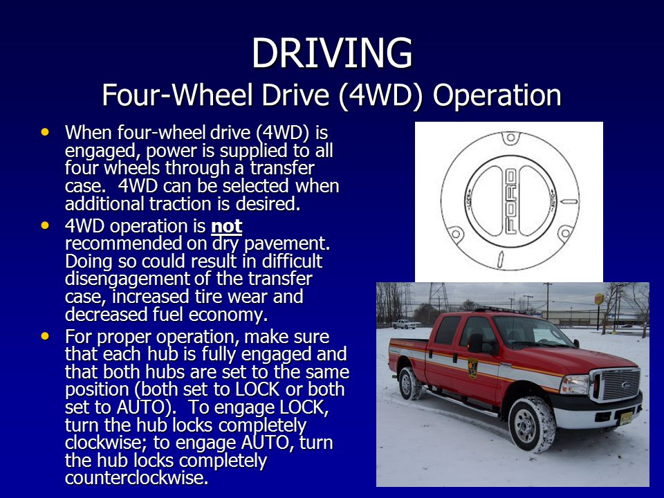 DRIVING Four-Wheel Drive (4WD) Operation When four-wheel drive (4WD) is engaged, power is supplied to all four wheels through a transfer case. 4WD can