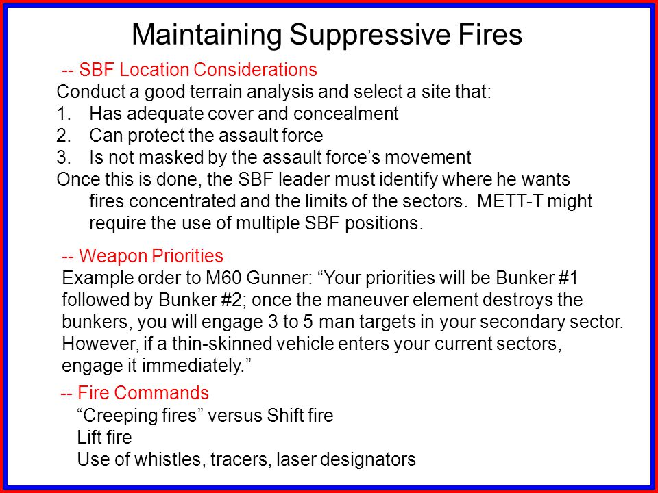 -- Barrel Change Requirements Maintaining Suppressive Fires Rate of FireM60 MGM249 MG CyclicEvery 1 minute RapidEvery 2 minutes SustainedEvery 10 minu